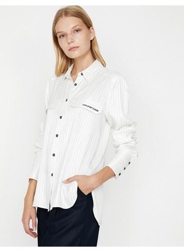 Koton Çizgili Gömlek Beyaz